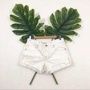 Free People White Denim Cut Off Shorts